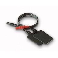 """Electrodo caucho 4x6cm. conexión con ficha  """"banana"""" 4 mm.  con cable (2 unds.)"""